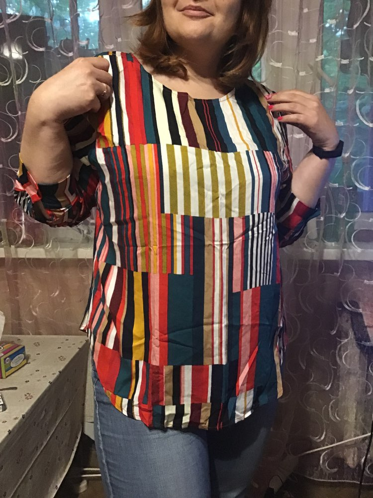Striped Curved Hem Plus Size Elegant Multicolor Longline Blouses Women Spring Round Neck Patchwork Tops Blouse photo review