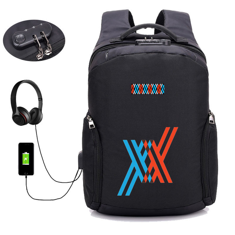 anime DARLING in the FRANXX backpack USB charging Backpack student book bag School Bag Mochila men