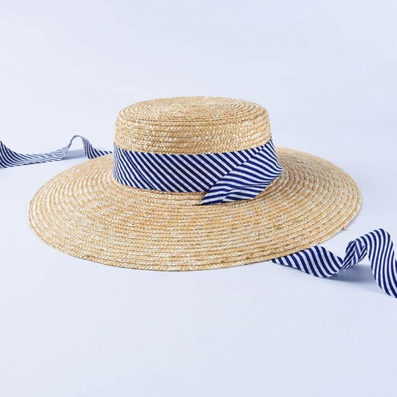 Image 4 - 2019 las nuevas mujeres de ala ancha de paja de trigo sombreros verano Playa Sol sombrero azul marino cinta a rayas corbata sombrero fedora vocación Derby tapa-in Las mujeres sombreros de sol from Accesorios para la ropa on AliExpress