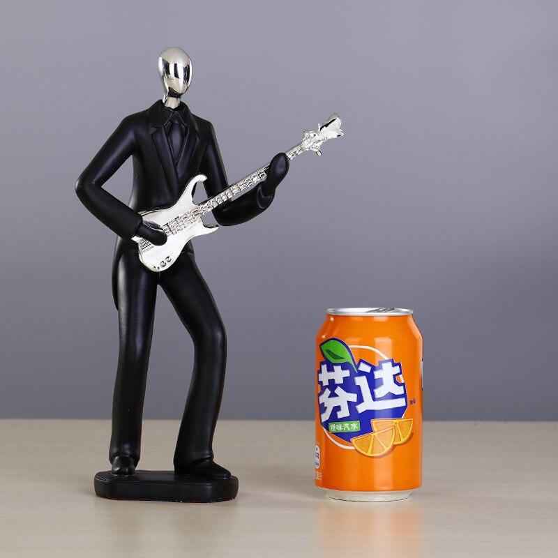 Résine noire argent tête saxo guitare sculpture concert artisanat cadeaux ornements - 6