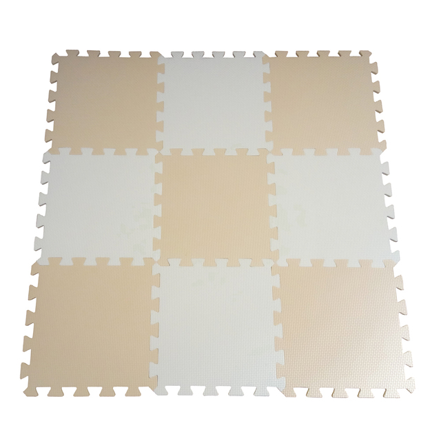 9pcspack Children Kids Soft Eva Foam Baby Play Mat Beige White