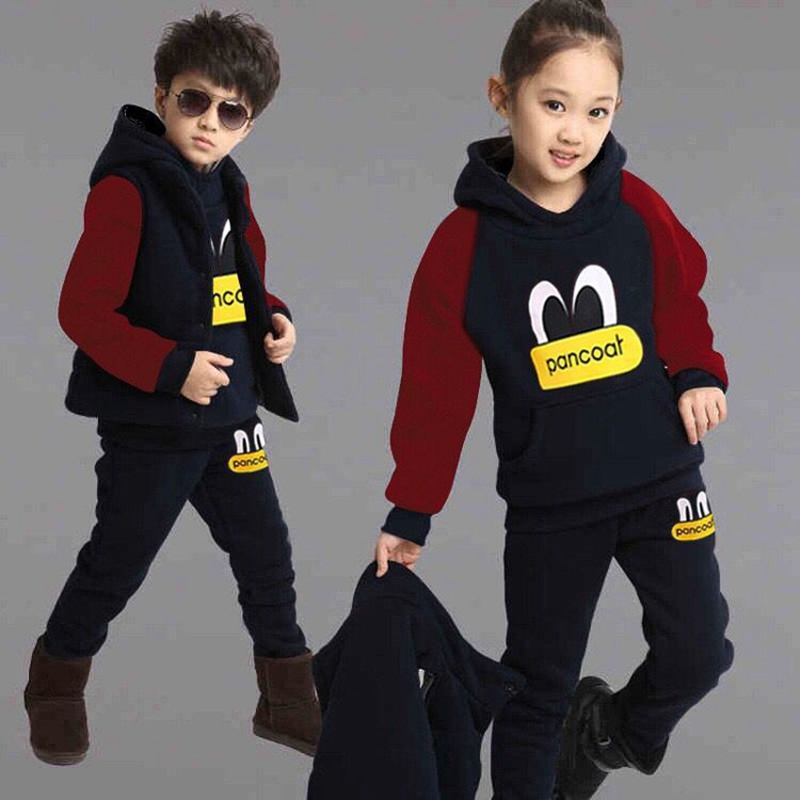 3 Piece Kids Suits 1-4 Years Old Boys Girls Winter Thicken Fleece Sets Hoodies Vest +shirt+Pants Children Clothes kocotree suit for 3 12 years old children unisex cap scarf gloves winter warm three piece sets