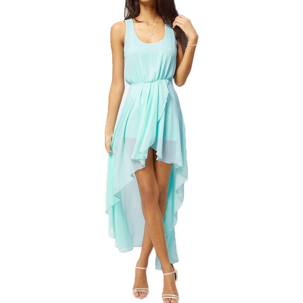 2017 New Sexy Chiffon Dress Women Ladies Summer Dress 2017 Fashion Asymmetrical Hem Sleeveless Tank Dress Light Blue