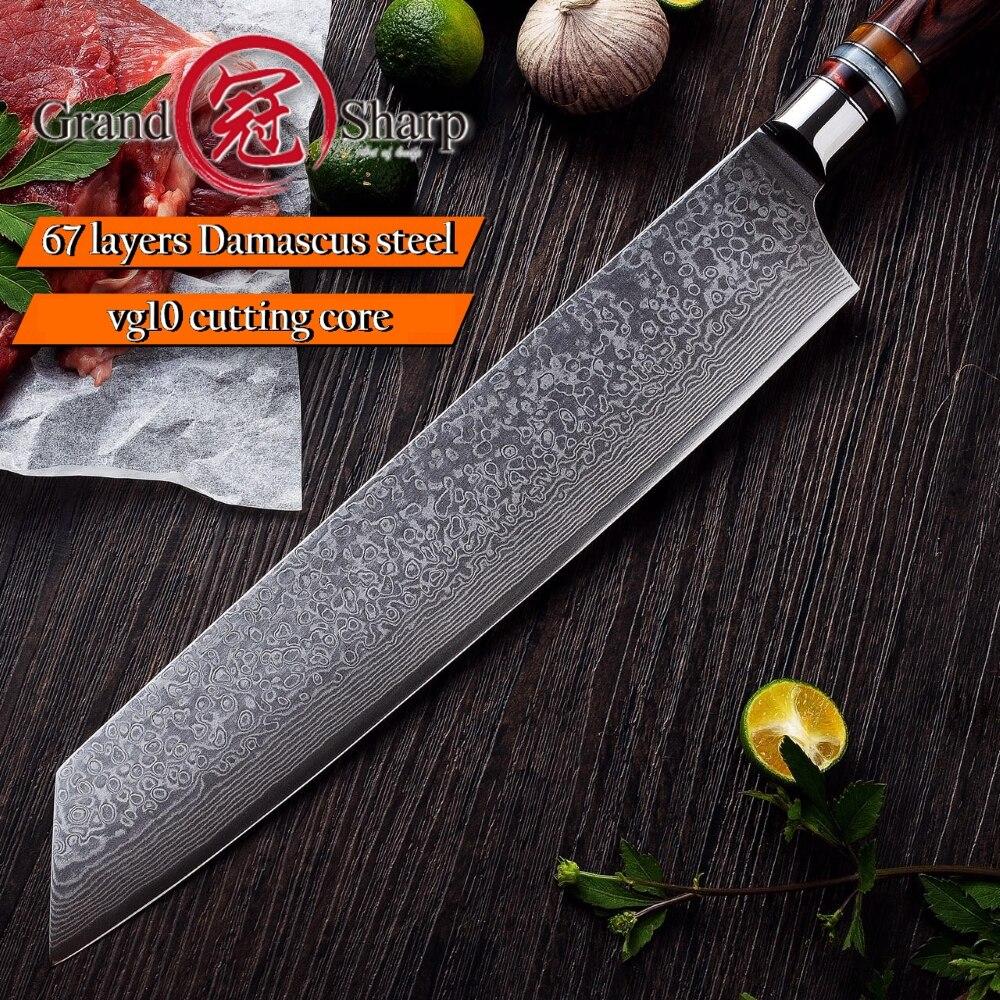 요리사 칼 9.5 인치 일본 다마스커스 부엌 칼 vg10 일본 다마스커스 강철 kiritsuke 칼 가정 요리 공구 스테인리스-에서주방 칼부터 홈 & 가든 의  그룹 2