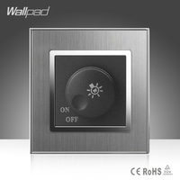 Dimmer Switch Wallpad Luxury 110 250V Brushed Metal UK EU Standard 1 500W Rotray Dimer Dim