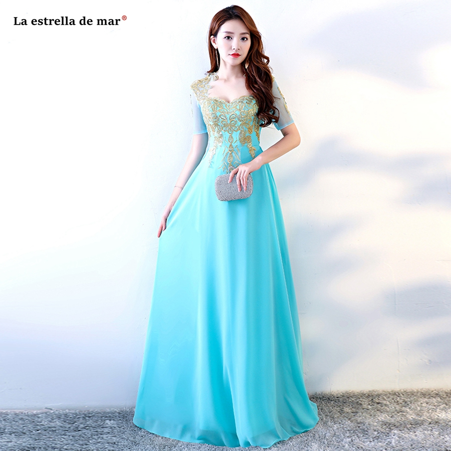timeless design 2c2c7 d1010 US $52.0 20% OFF|Vestiti donna eleganti per cerimonie new sexy V neck lace  Half sleeve gold turquoise royal blue red long wedding guest dress-in ...