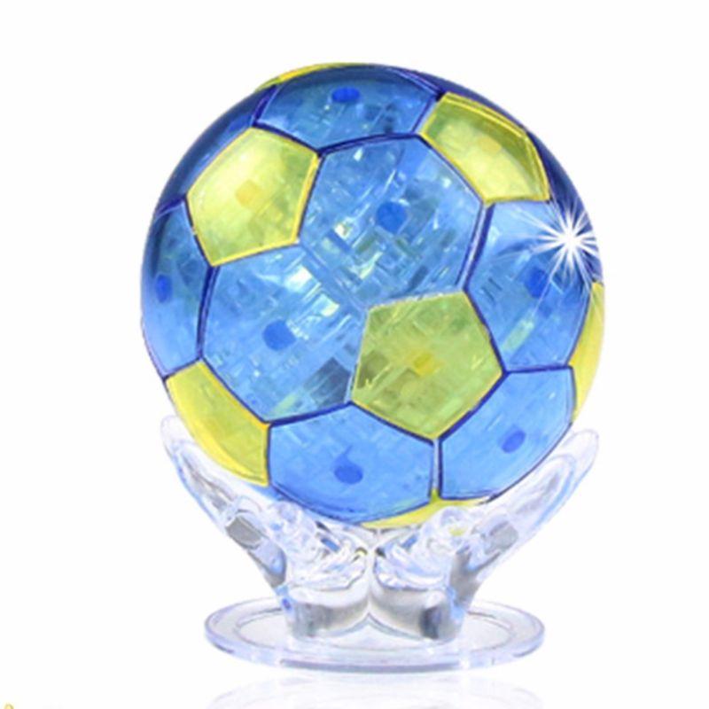 3D Crystal Puzzle Building Blocks Jigsaw Football Soccer Ball Home Decor Model