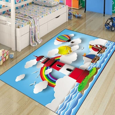 Else Blue Sea Sky Ships Lighthouse Cloud 3d Patten Print Non Slip Microfiber Children Kids Room Decorative Area Rug Kids  Mat