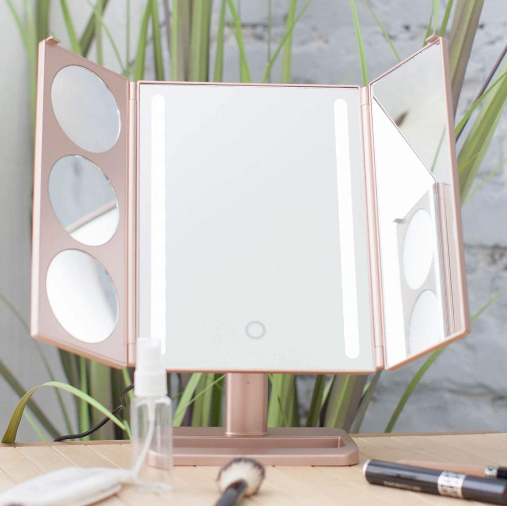 Touch Screen LED Strips Makeup Mirror Desktop Makeup 1X / 2X / 3X / Magnifying Mirror 3 Folding Adjustable uLike Gold GESS tri fold adjustable 24 led lights dimmable mirror 1x 2x 3x magnifying make up mirror bathroom tabletop mirror for beauty makeup