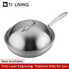Genuine Tikungfu Titanium Non-stick Frying Non-coated Pan Kitchen Accessories Induction Titanium Lid BPA Free Healthy Family Use цена
