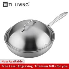 Купить с кэшбэком Non-stick Frying Pan Non-coated Pan  Pure Titanium Pan Induction With Pure Titanium Lid No Heavy Metals