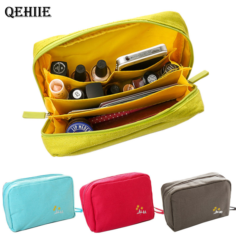 Cosmetic-Bag Beauty-Case-Kits Toiletry Travel-Organizer Make-Up-Pouch Canvas Zipper The