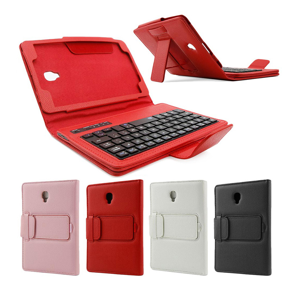 все цены на Bluetooth Wireless Keyboard Case for Samsung Galaxy Tab A 8.0 T380 T385 PU Leather Stand Cover Detachable Keypad Protective Case онлайн