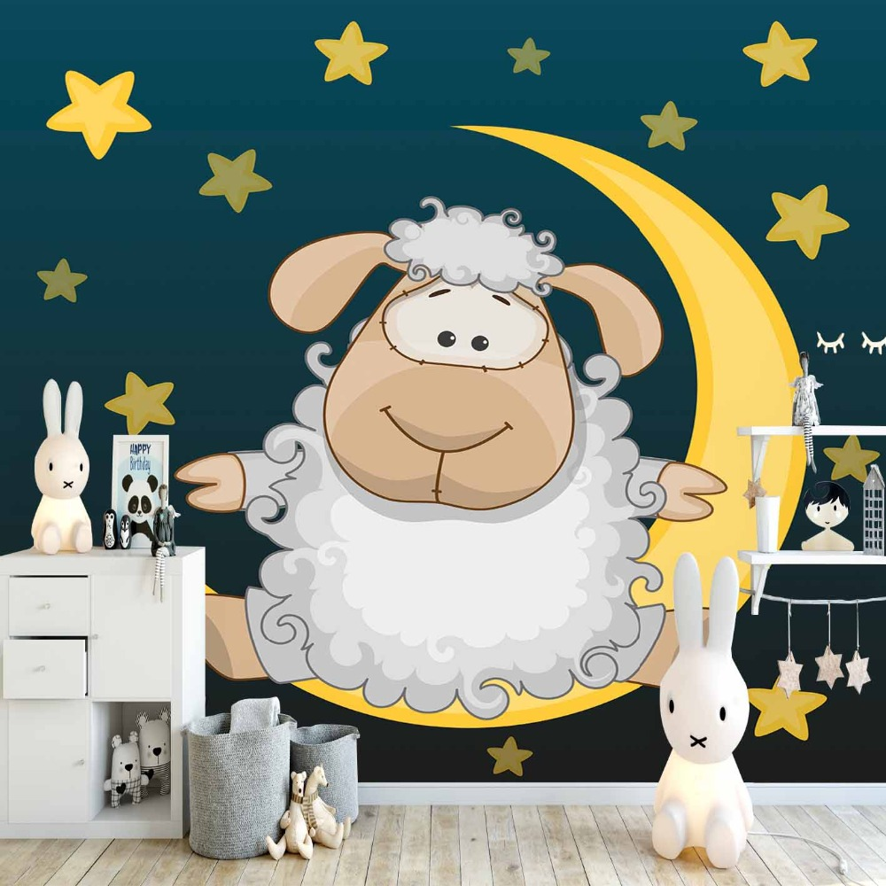 Else Navy Blue Yellow Star Moons Sleep Lamps 3d Print Cartoon Cleanable Fabric Mural Kids Children Room Background Wallpaper