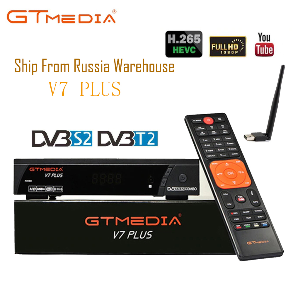 dvb s2 dvb t2 free sat v7 combo satellite receiver with powervu biss key cccam usb wifi set top box youtube v7 combo gtmedia GTMEDIA V7 PLUS DVB-S2 & T2 Combo Receiver support H.265 PowerVu Biss 1 YEAR CCCams Newcamd Youtube update from Freesat V7 combo