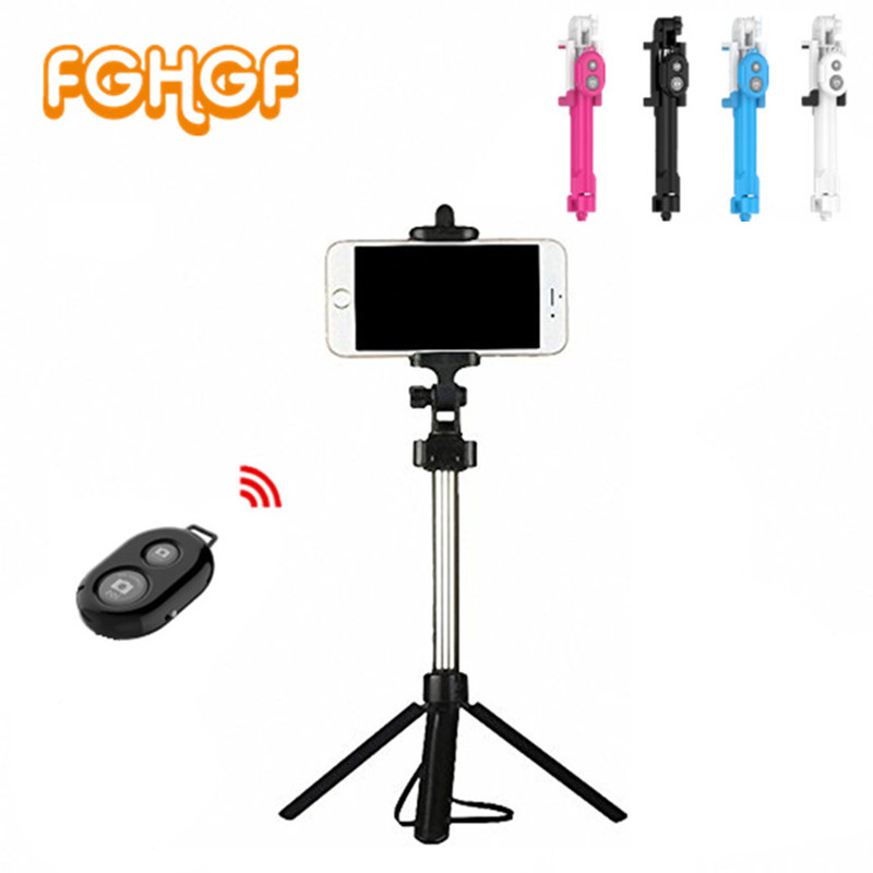 FGHGF teléfono trípode Selfie Stick Bluetooth plegable Selfiestick para iPhone Android para Samsung Xiaomi Huawei Remote Handheld