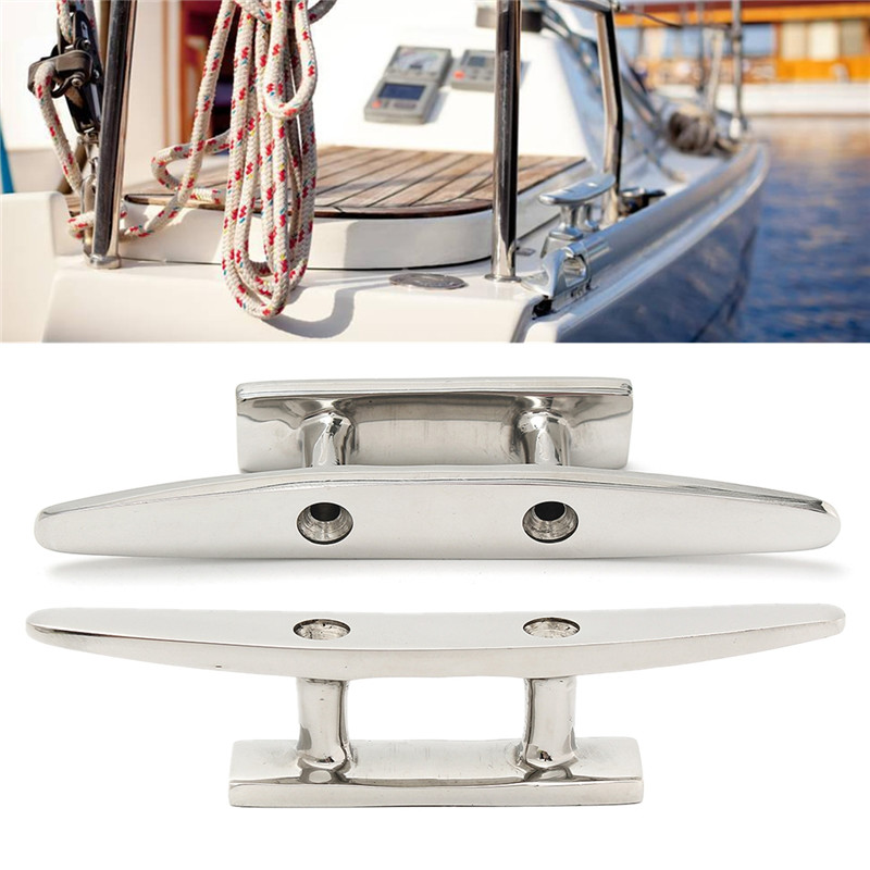 Low Flat Cleat Stainless steel marine grade Sailing Boat Deck 4 5 6 8 316 Stainless Steel for All Chandlery Applications