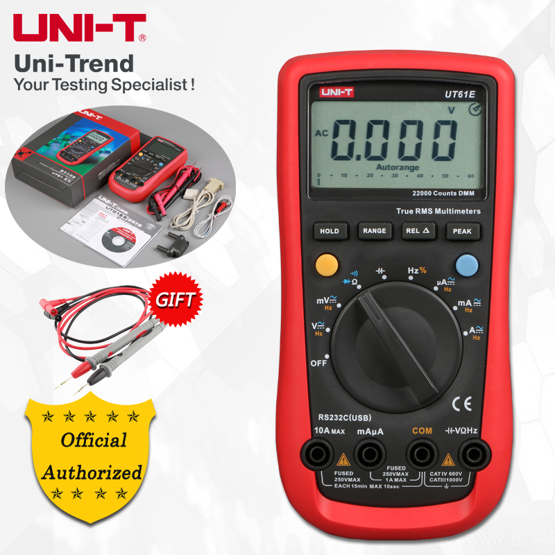 UNI T UT61A/UT61B/UT61C/UT61D/UT61E Auto Range Digital Multimeter; Resistance/Capacitance/Frequency/Temperature Test, RS 232-in Multimeters from Tools