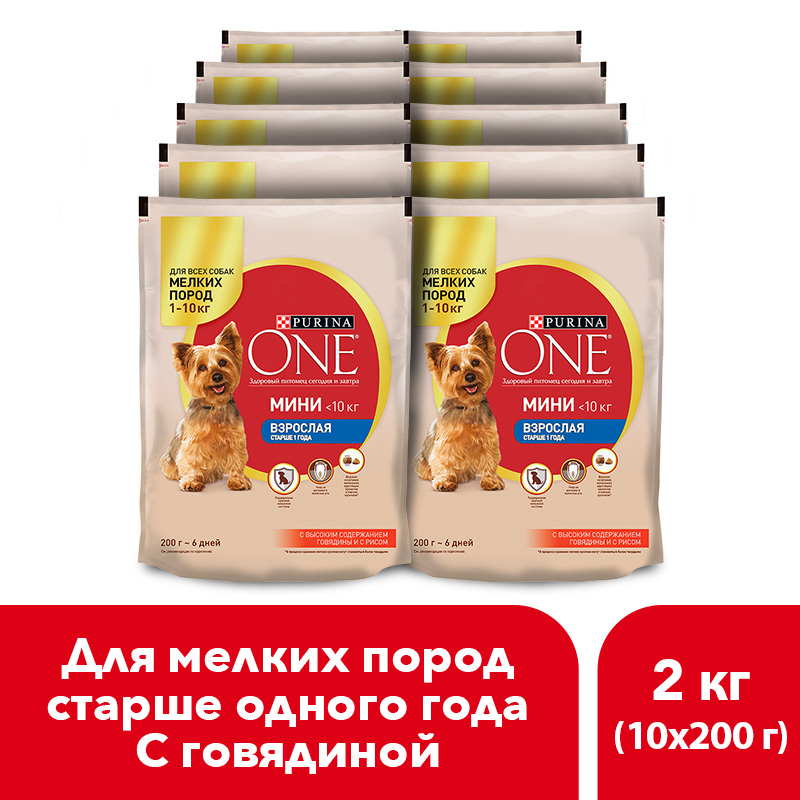 Dry dog food of small breeds Purina One Mini Adult, with beef and rice, package, 2 kg.