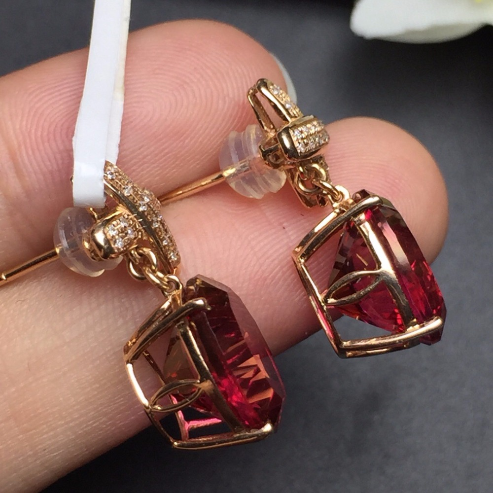 Fine Jewelry Collection Real 18K Rose Gold AU750 100% Natural Red - Joyas - foto 5