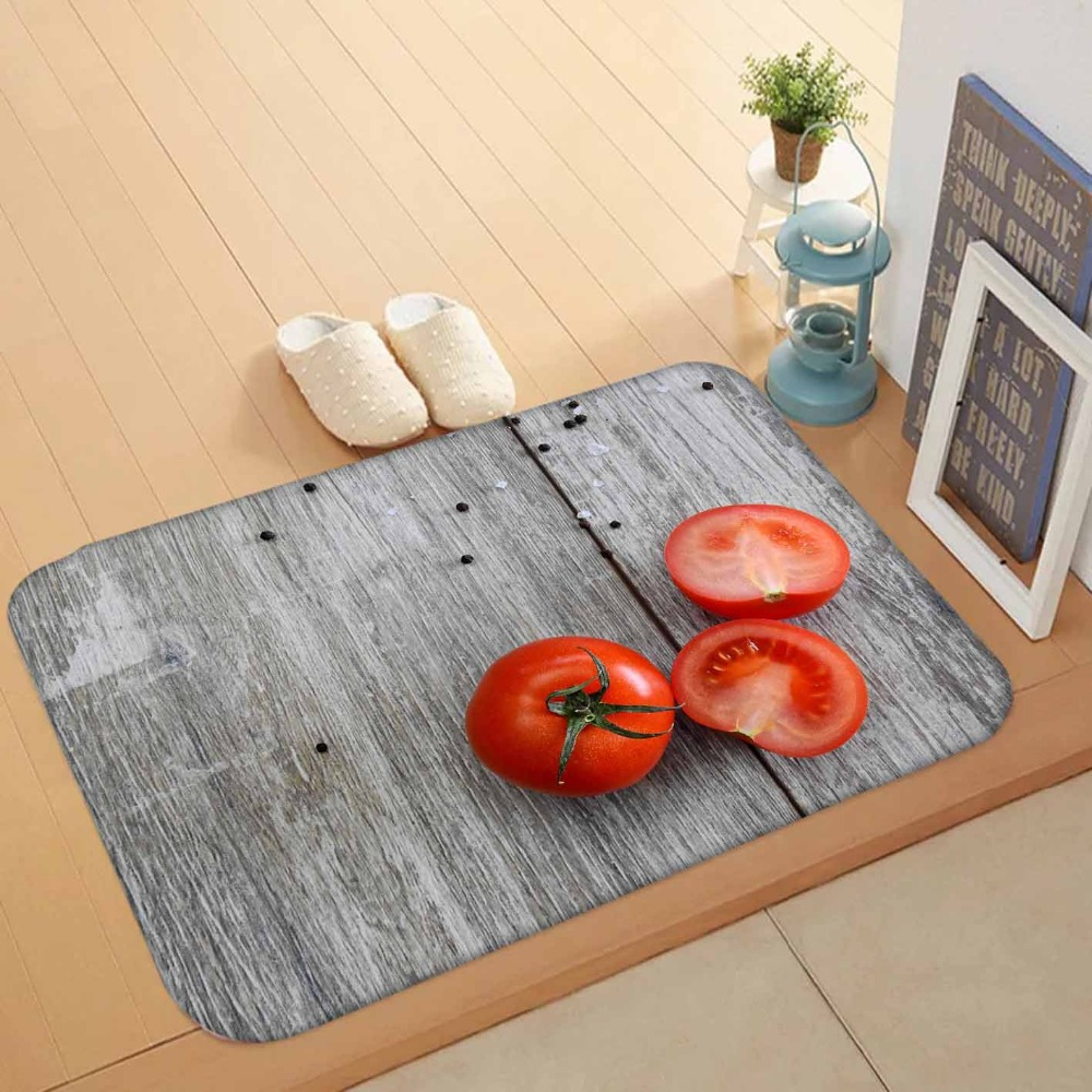 Else Gray Tree Wood On Red Tomato Vegetables 3d Pattern Print Anti Slip Washable Doormat Home Decor Entryway Kitchen Mat
