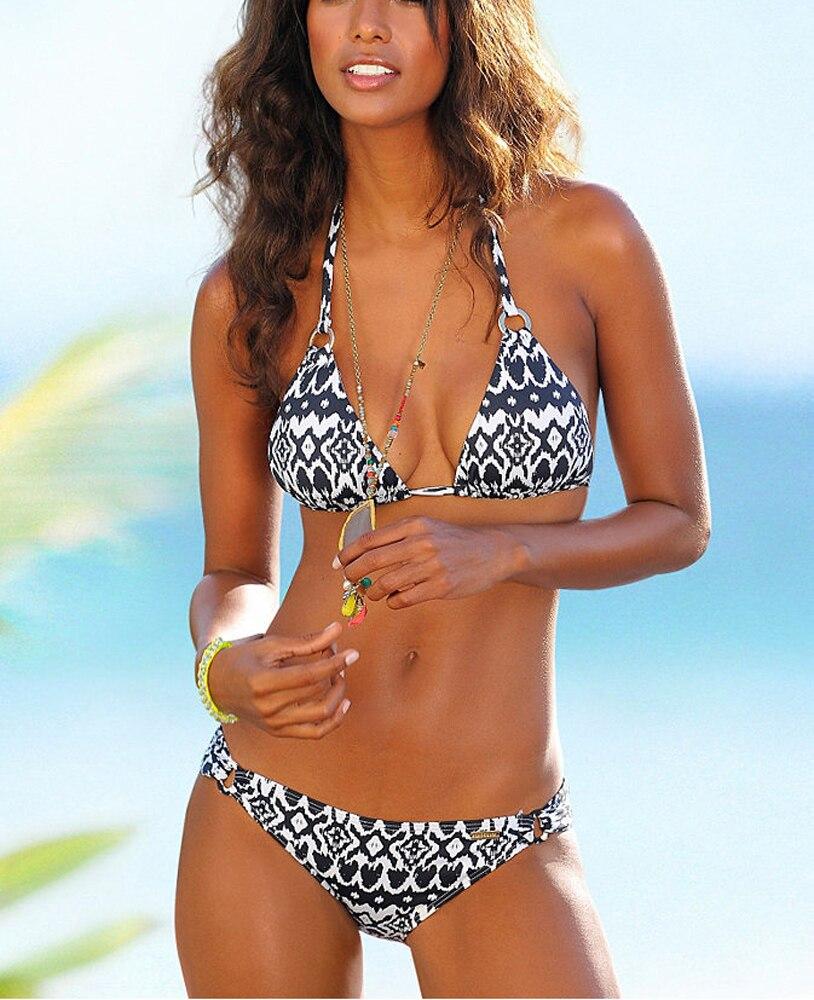 2Pieces Women Bikini Set Switmsuit For Women Two Pieces Bathing Suit Black White Wave Printing
