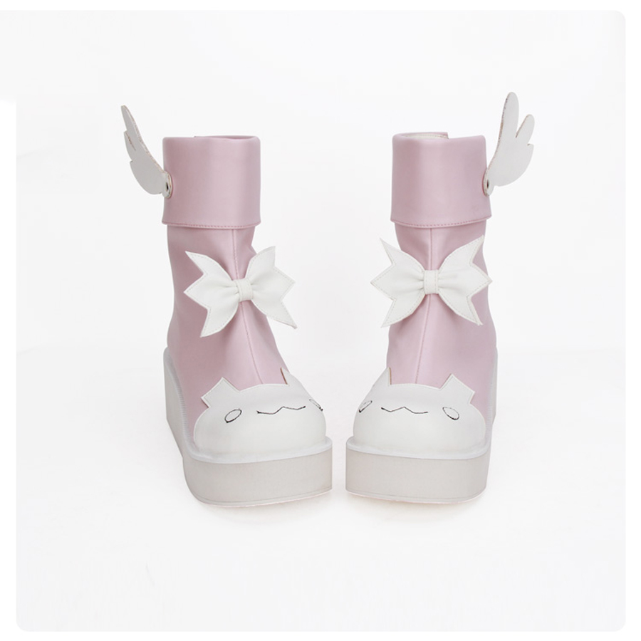New Autumn Fashion 2018 Women's Short PU Boots Cartoon Anime Rabbit Wings Cute Girls Lolita Cosplay Shoes Foam flatform Boots