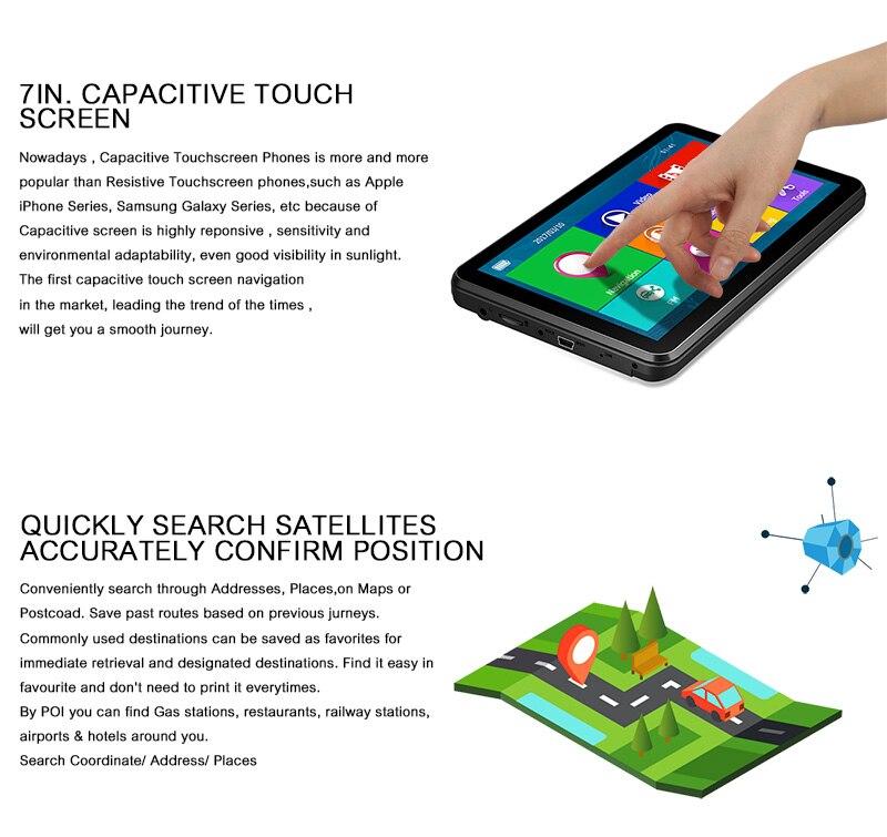 XGODY 884 16GB Car GPS SAT Navigation 7 Inch Capacitive Touchscreen World Maps