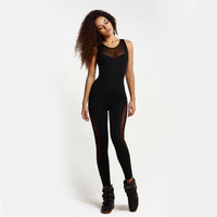 2017 Fashion Women S Tights Sleeveless Trousers Black Sport Lace Stitching Sexy Tights