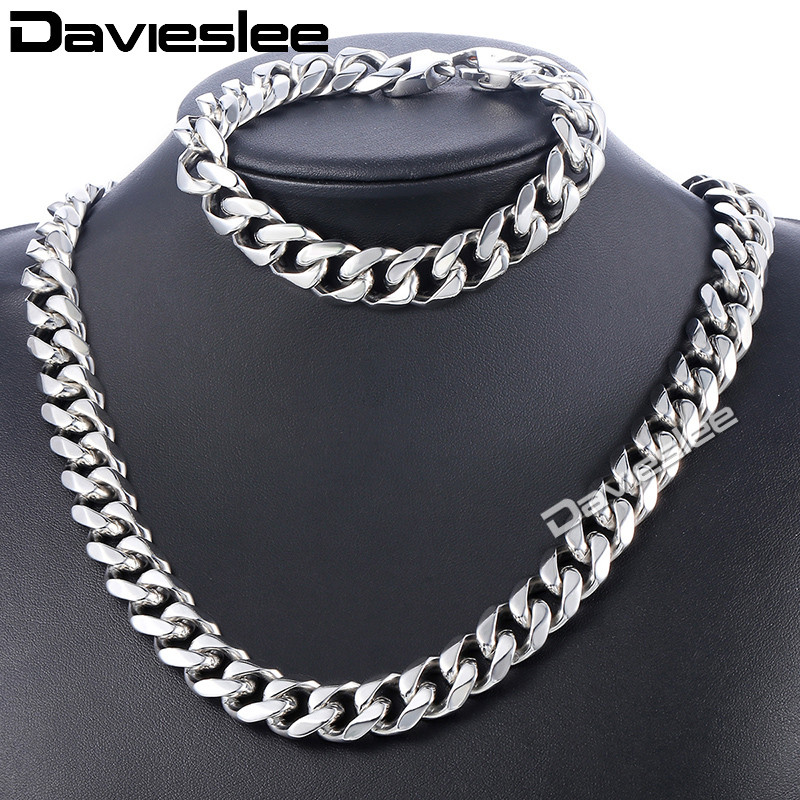 Daiveslee Polished Mens Necklace Bracelet Jewelry Set 316L Stainless Steel Chain Silver Tone Curb Cuban Link DHS43 25mm mens chain boys big curb link gunmetal tone 316l stainless steel bracelet charm bracelets for women
