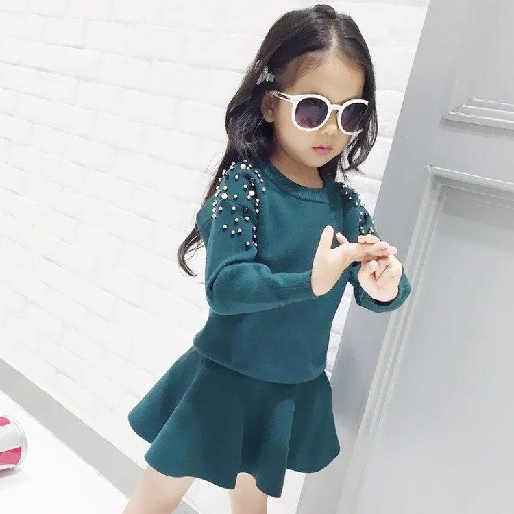 Spring Winter baby sweater + knitted skirt girls 2 pcs set kids knit suit children quality clothes pearl patch solid 4 to 9 yrs