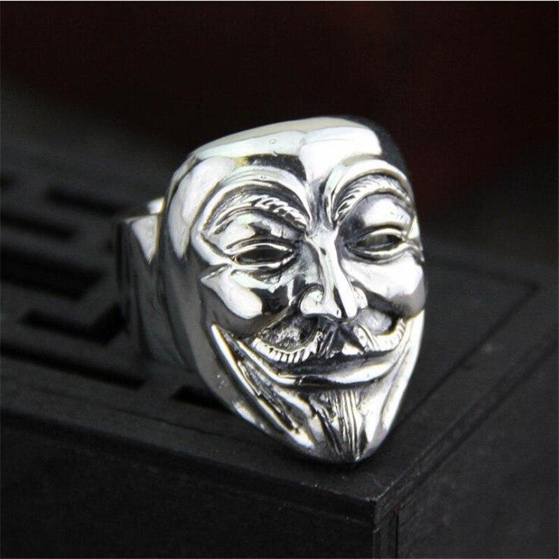 2018 nouveau V pour Vendetta 999 en argent Sterling bijoux en gros usine prix film Guy Fawkes masque anneau pour hommes PBG0532018 nouveau V pour Vendetta 999 en argent Sterling bijoux en gros usine prix film Guy Fawkes masque anneau pour hommes PBG053