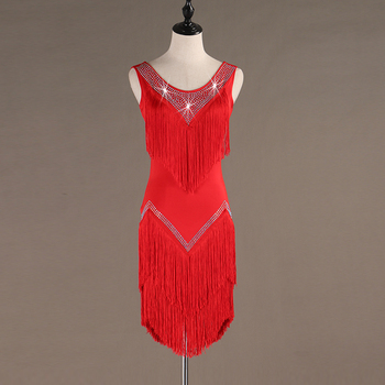 samba  wear robe latine femme  latin dress robe danse latine samba dress robe danse latine fringe tassel lq017 red black gree