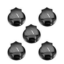 UXCELL 5Pcs 6mm Insert Shaft 24x15mm Plastic Potentiometer Rotary Knob Pots Black For Connect The Supplies