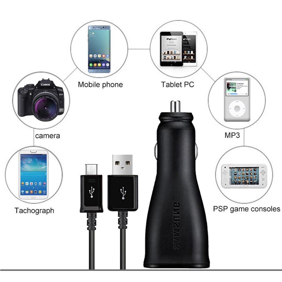 4Samsung S7 S6 edge 9V1.67A & 5V2A Fast Car Charger 1.2m Micro USB Cable Cable Travel Adapter Note2 Note4 Note5 note edge