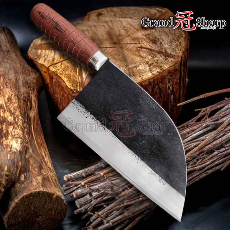 Traditional Chinese Cleaver Forged Chef Knife Carbon Steel Kitchen Knives Meat Slicing Vegetables Cooking Tool Slaughter