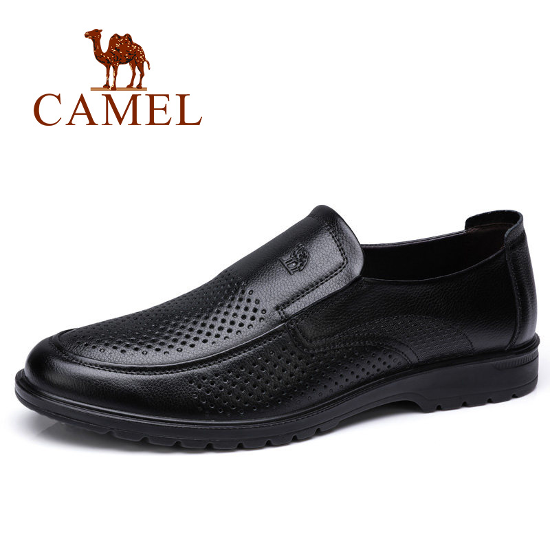 CAMEL Fashion Breathable Men Shoes Soft Genuine Leather Loafers Man Business Flats Shoes for Men Moccasins Male Footwear men fashion business dress genuine leather shoes carved brogue lace up flats shoe breathable comfort loafers moccasins footwear