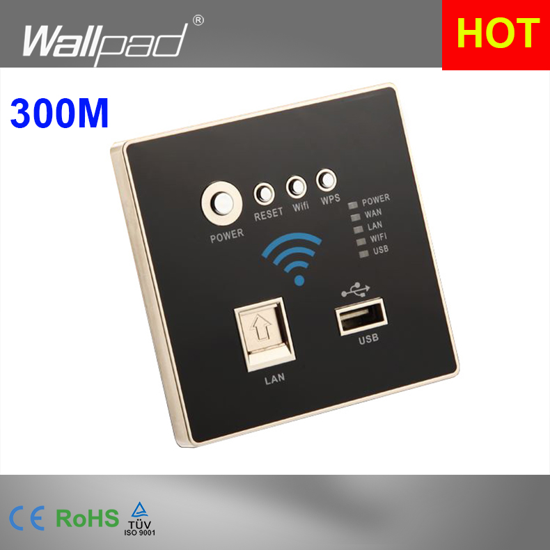 300M Rate Black WIFI USB Charging WiFi Socket, USB Socket Wall Embedded Wireless AP Router Phone Wall Charge Free Shipping