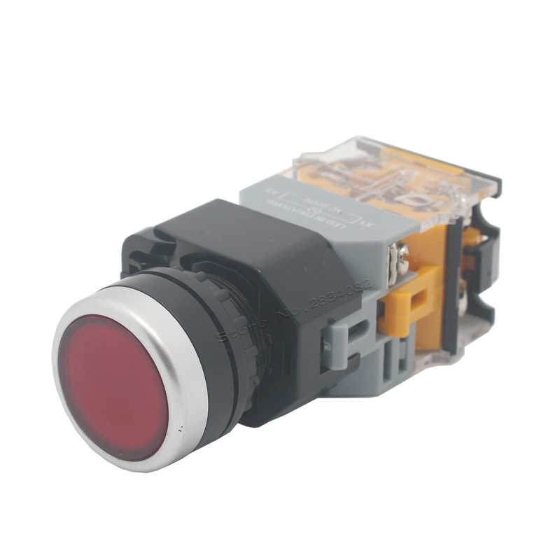 """22mm LED chwilowy płaski przycisk przełącznik podświetlany przełącznik powrót sprężynowy bez blokady włącznik światła 1 NONC, proszę kliknąć na przycisk """" LA38-11DN srebrny kontakt"""
