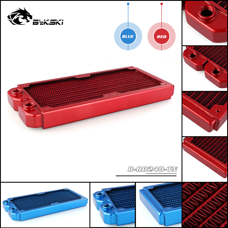 Bykski Water Cooling Radiator 240 Pure Copper Colorful Liquid Heat Exchanger Row Red / Blue Match 2x12CM Fan