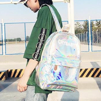 Reistassen Zilver Blauw Roze Laser Rugzak Vrouwen Meisjes Bag PU Leather Holografische Rugzak Schooltassen voor Tienermeisjes