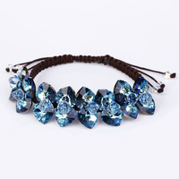 SWANJEWELRY Hot Selling handmade DIY adjustable blue Bracelet brilliant heart crystal charm Girl jewellery for Women and Girls