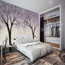 Fantasy romantic lilac tree background wall custom high-end mural factory wholesale wallpaper poster photo