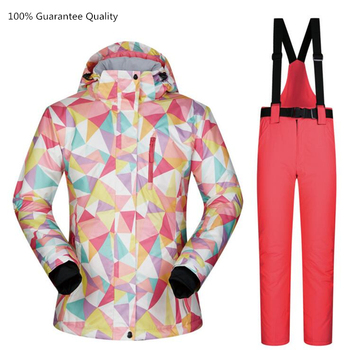 Female Colorful Ski Suit Sets Waterproof Windproof Breathable Climbing Camping Winter Outdoor Snowboarding Women Ski Suit