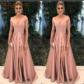 2d342e188 Vestidos Elegantes de Madre de la novia para bodas vestidos de fiesta Línea  A satén plisado