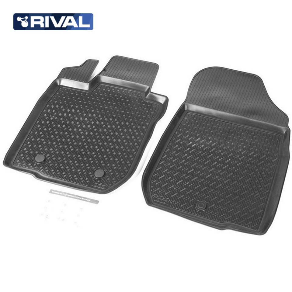 For Lada Largus 2012-2019 front floor mats into saloon FURGON 2 pcs/set Rival 16003003 3d floor mats for lada largus element f620250e1