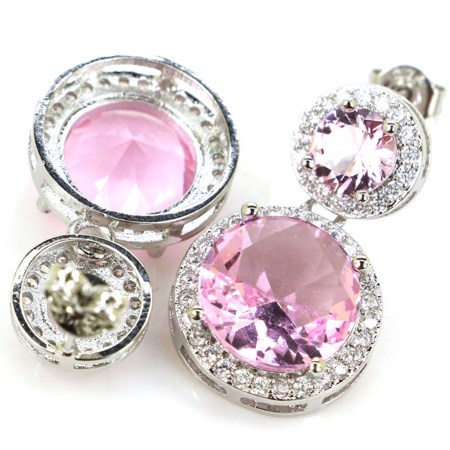 New Arrival Round Pink Kunzite White CZ Woman's Engagement 925 Silver Earrings 24x14mm