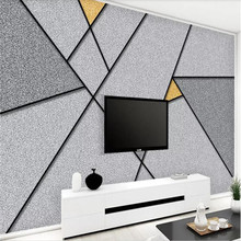 Personality abstract geometric line square TV background wall professional production of high-end mural factory wholesale