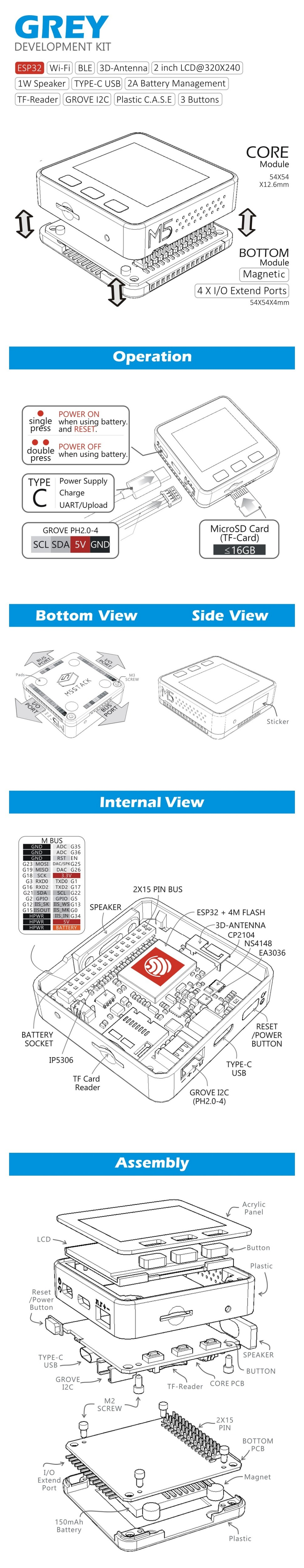 M5Stack Oficial Em Estoque ESP32 Mpu9250 9 Axis Sensor de Movimento Kit de  Desenvolvimento Core Extensível Placa de Desenvolvimento IoT para Arduino