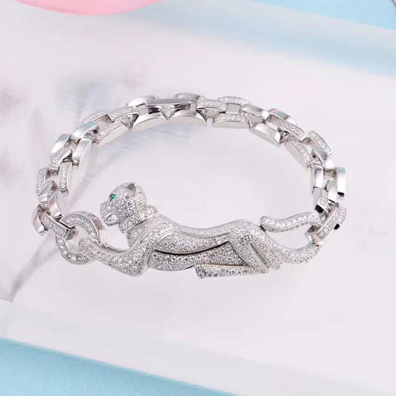 98891c7a165ac US $55.0  ZOZIRI brand new luxury design 925 Sterling Silver cute Leopard  bracelet for trendy women Panther Bangle chain jewelry-in Chain & Link ...